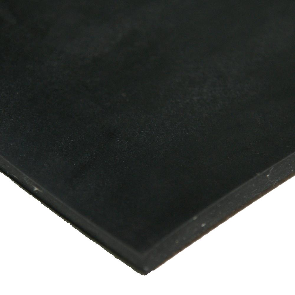 Cloth Inserted SBR 1/8 in. x 36 in. x 12 in. 70A Rubber Sheet - Black