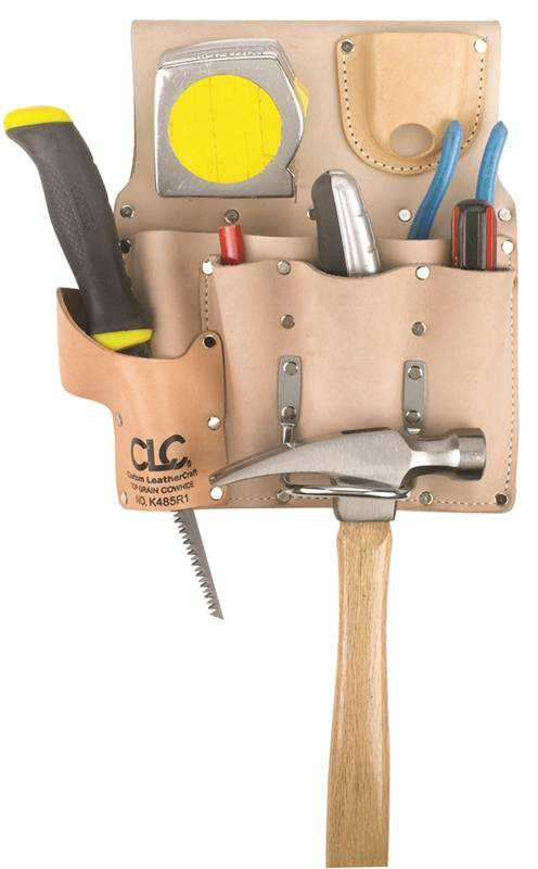 Custom Leathercraft K485R1 Drywallers Tool Pouch, 2-1/2 in W 10.6 in H, Leather, Tan